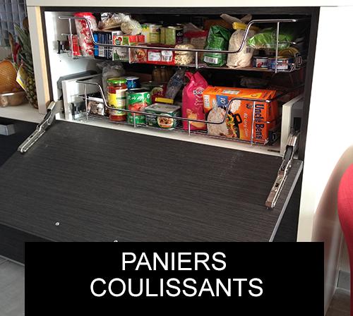 Tiroir et panier coulissant am nagement cuisine cuisines bellissima - Paniers coulissants cuisine ...