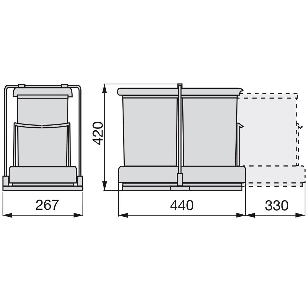 Poubelle de 28L grise 2*14L ouveture automatique mm sortie totale