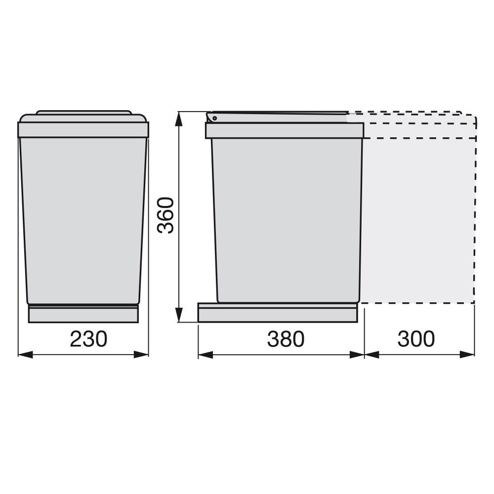Poubelle 1Bac de 16L pour meuble 300mm