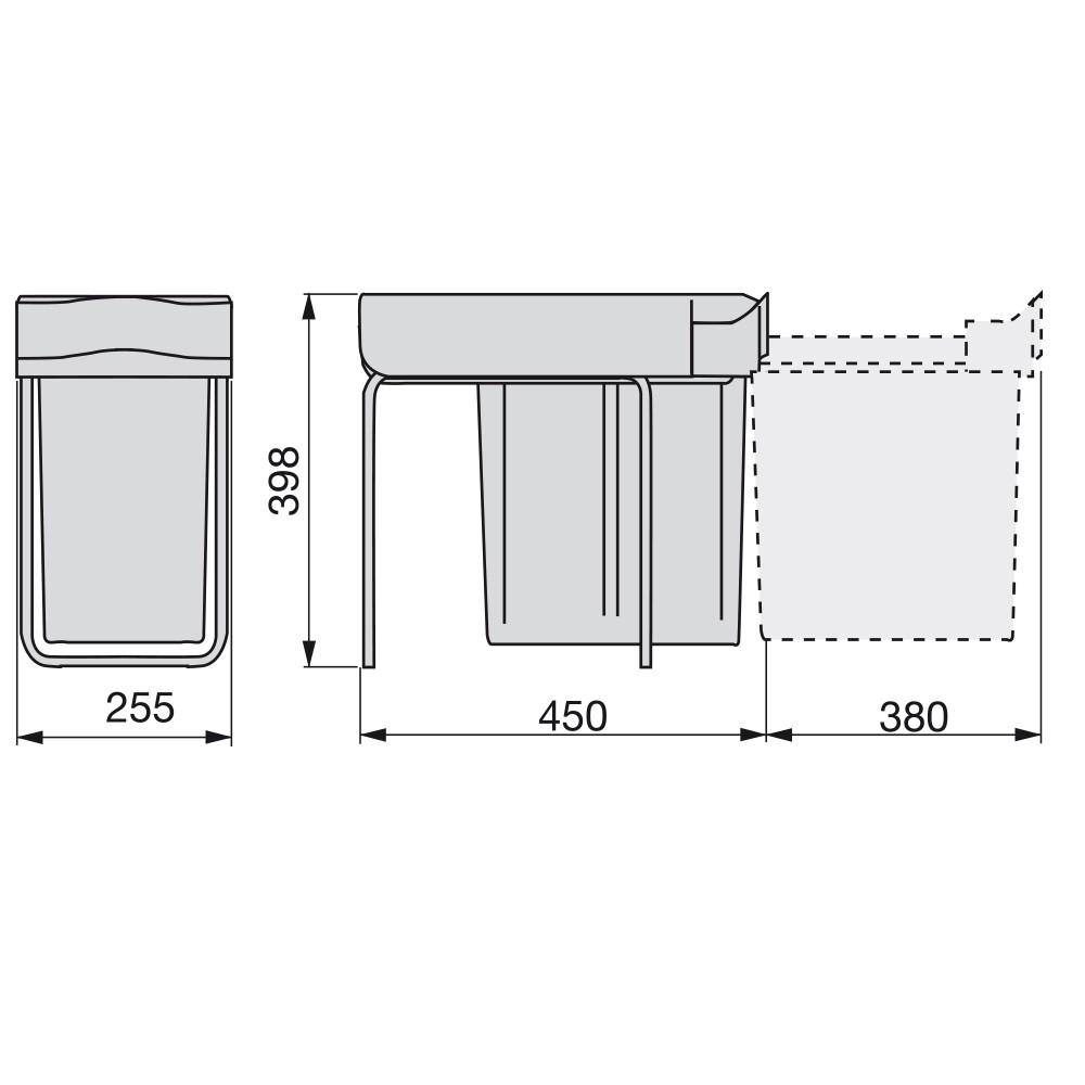 Poubelle 1 Bac de 20L gris anthracite fixation sur cadre pour meuble de 300 mm