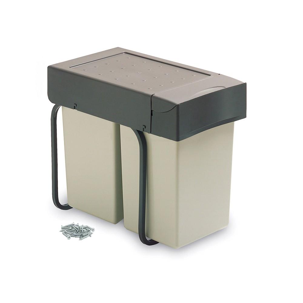 Poubelle 2 Bacs de 14L gris anthracite fixation sur cadre pour meuble de 300 mm
