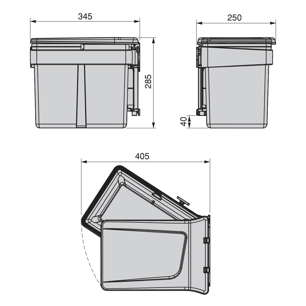 Poubelle de recyclage pour fixation sur porte et conteneur de 15L