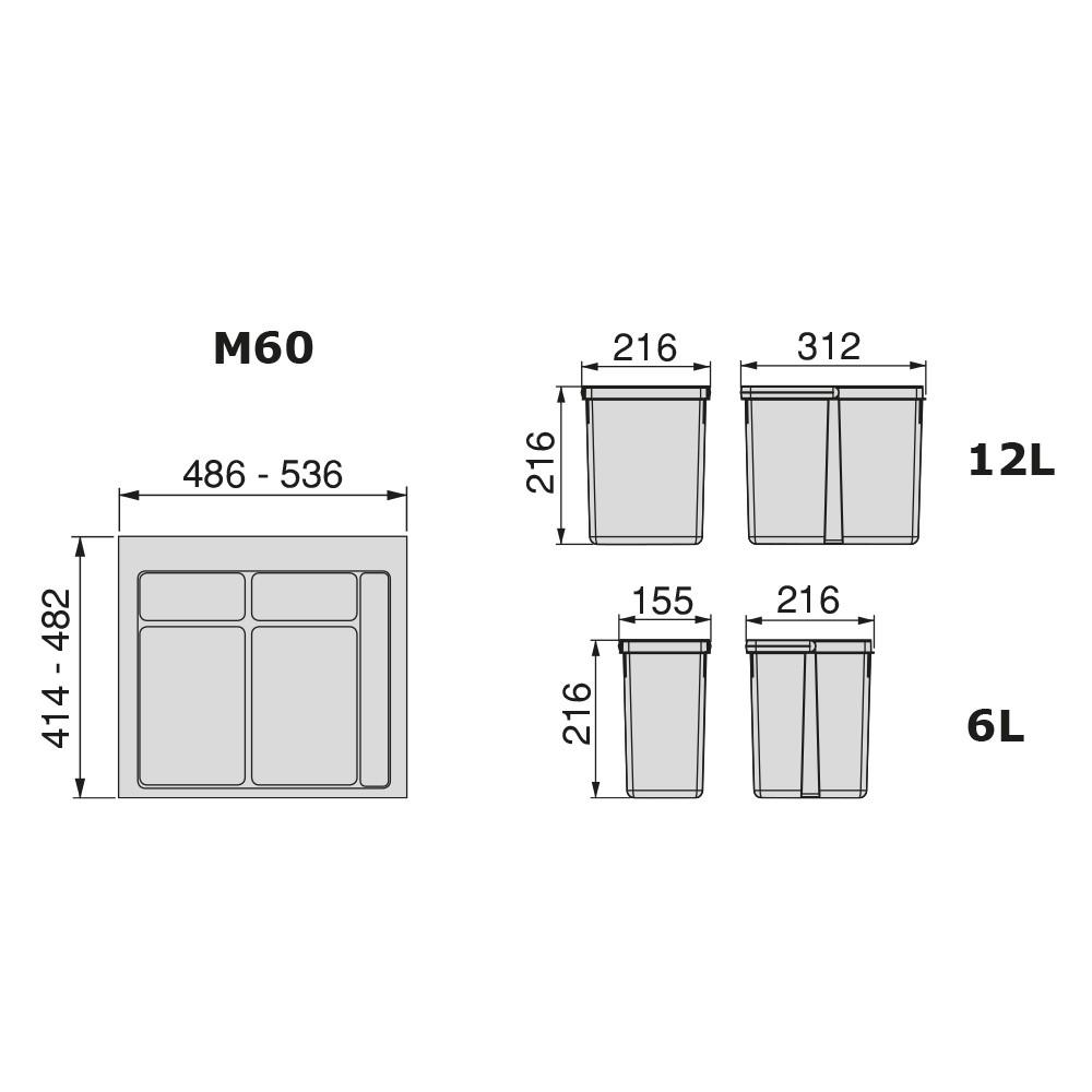 Collecteur 2 seaux avec couvercles pour tiroir 600 mm