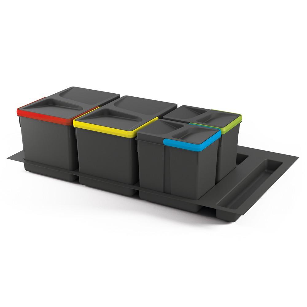 Collecteur 2 seaux avec couvercles pour tiroir 900 mm