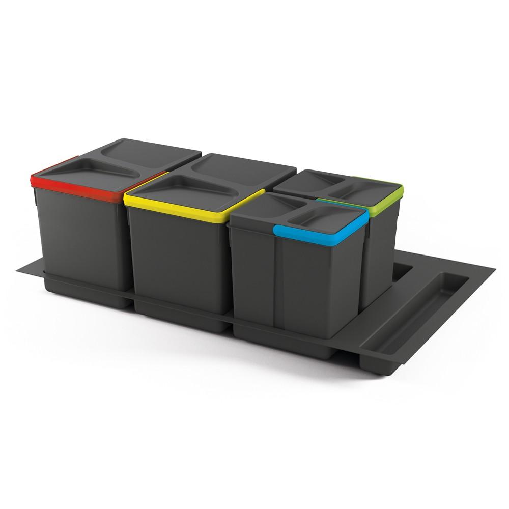 Kit de poubelles à base pour tiroir de meuble 900 mm 15 L, 7 L, 7L