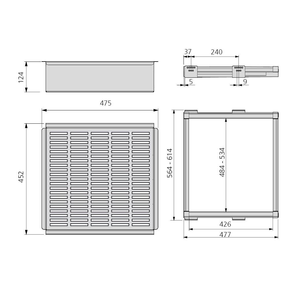 Kit de coulisses et panier métallique Moka Emuca pour module 600 mm finition couleur moka