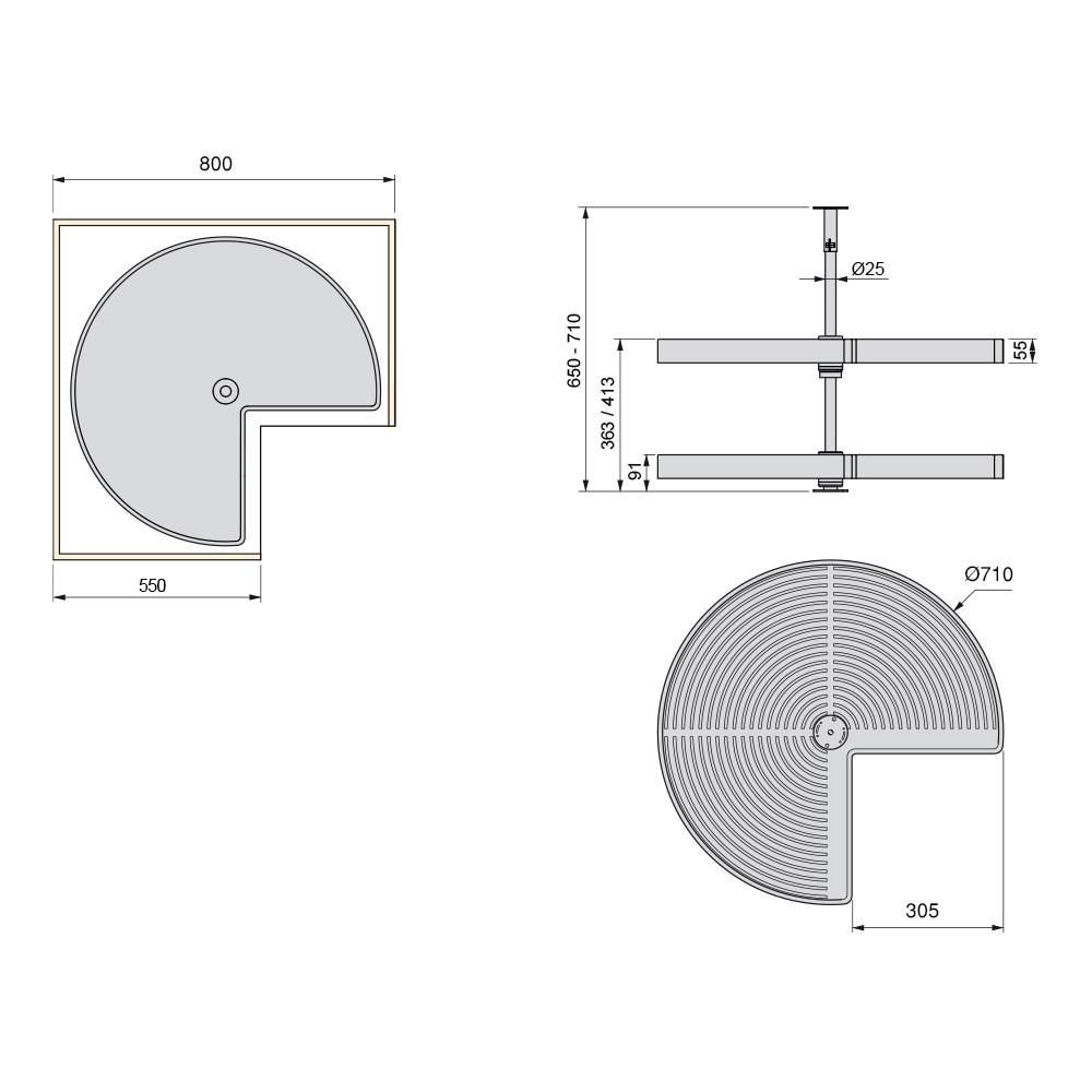 Jeu de plateaux Shelvo 3/4 pour module 800 mm en plastique gris