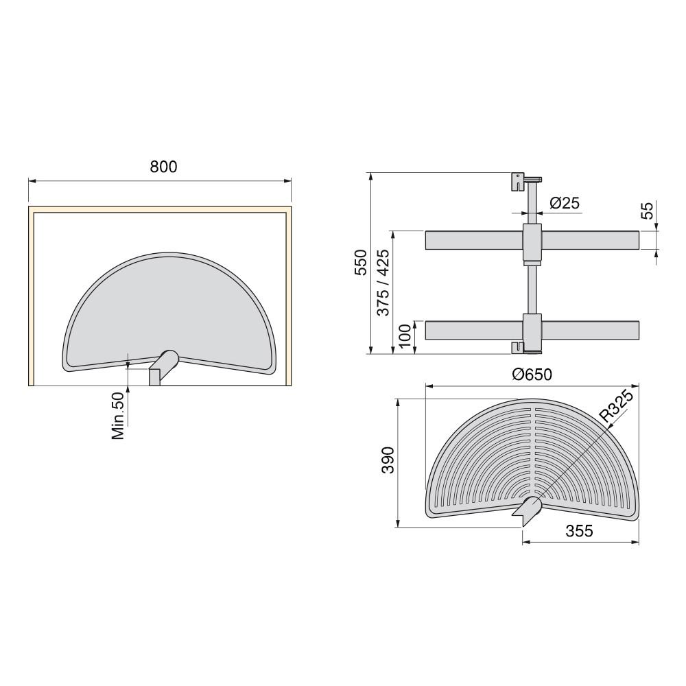 Jeu de plateaux Shelvo Emuca 1/2 lune pour module 800 mm en plastique gris